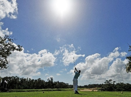 QUINTANA ROO, MEXICO - FEBRUARY 24:  Brian Gay tees off the 11th hole  during the fourth and final round of the Mayakoba Golf Classic at Riviera Maya on Sunday, February 24, 2008 in Playa del Carmen, Quintana Roo, Mexico. (Photo by Marc Feldman/Getty Images)