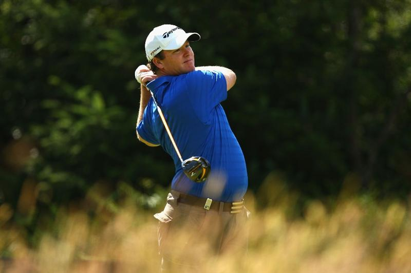 LUSS, UNITED KINGDOM - JULY 10:  Marcus Fraser of Australia tees off on the 15th hole during the Second Round of The Barclays Scottish Open at Loch Lomond Golf Club on July 10, 2009 in Luss, Scotland. (Photo by Richard Heathcote/Getty Images)