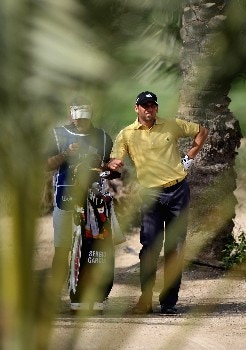 DUBAI, UNITED ARAB EMIRATES - FEBRUARY 02: Sergio Garcia of Spain on the par five 10th hole during the third round of the Dubai Desert Classic on the Majlis Course held at the Emirates Golf Club on February 2, 2008 in Dubai,United Arab Emirates.  (Photo by Ross Kinnaird/Getty Images)