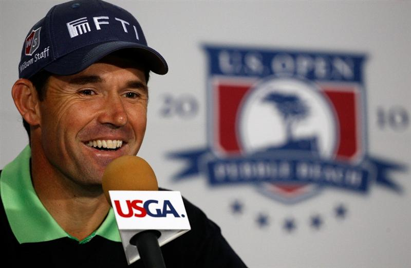 PEBBLE BEACH, CA - JUNE 15:  Padraig Harrington of Ireland is interviewed by the media during a press conference before a practice round prior to the start of the 110th U.S. Open at Pebble Beach Golf Links on June 15, 2010 in Pebble Beach, California.  (Photo by Scott Halleran/Getty Images)