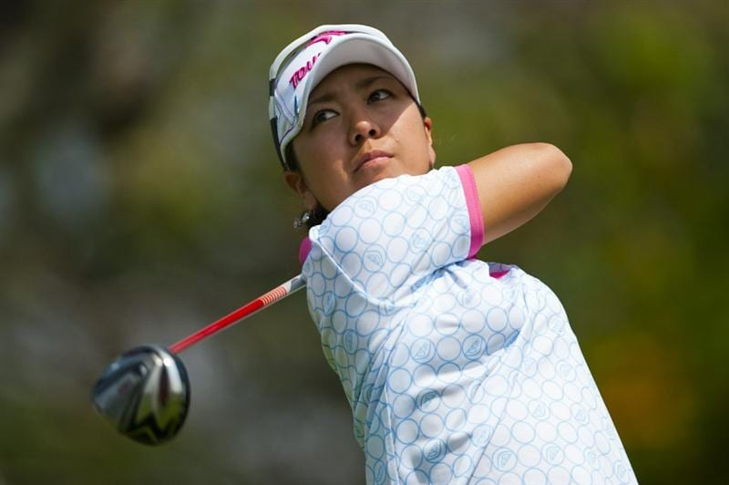 CHON BURI, THAILAND - FEBRUARY 19:  Mika Miyazato of Japan tees off on the 2nd hole during day three of the LPGA Thailand at Siam Country Club on February 19, 2011 in Chon Buri, Thailand.  (Photo by Victor Fraile/Getty Images)