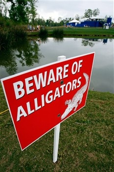 AVONDALE, LA - MARCH 29:  A sign warning of alligators is near a lake by the 18th tee box of the Zurich Classic of New Orleans on March 29, 2008  at TPC Louisiana in Avondale, Louisiana.  (Photo by Chris Graythen/Getty Images)