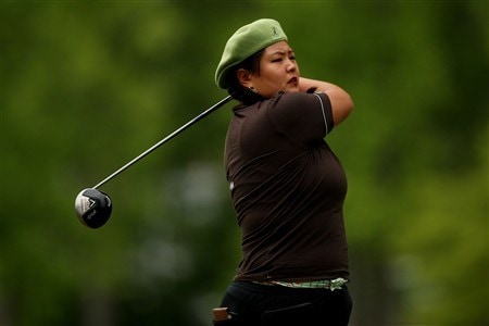 CLIFTON, NJ - MAY 18:  Christina Kim watches her tee shot on the 12th hole during the final round of the Sybase Classic presented by ShopRite on May 18, 2008 at the Upper Montclair Country Club in Clifton, New Jersey.  (Photo by Travis Lindquist/Getty Images)