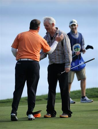 PEBBLE BEACH, CA - FEBRUARY 13:  D.A Points is congratulated by his playing partner actor Bill Murray on the 18th hole during the final round of the AT&T Pebble Beach National Pro-Am at Pebble Beach Golf Links on February 13, 2011  in Pebble Beach, California.  (Photo by Stuart Franklin/Getty Images)