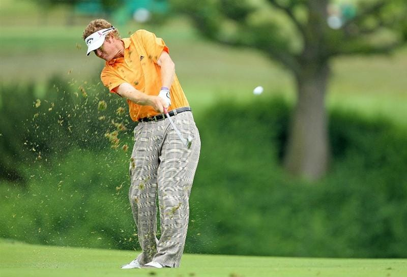 DUBLIN, OH - JUNE 05:  Tim Petrovic hits his second shot on the 10th hole during the third round of The Memorial Tournament presented by Morgan Stanley at Muirfield Village Golf Club on June 5, 2010 in Dublin, Ohio.  (Photo by Andy Lyons/Getty Images)