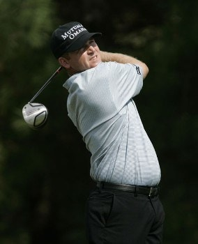 Jason Bohn watches his drive in action during the fourth round of the Chrysler Classic of Greensboro at Forest Oaks Country Club in Greensboro, North Carolina on October 2, 2005.Photo by Michael Cohen/WireImage.com