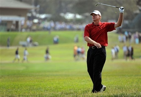 SAN DIEGO - JUNE 12:  Steve Stricker hits a shot from the rough on the first hole during the first round of the 108th U.S. Open at the Torrey Pines Golf Course (South Course) on June 12, 2008 in San Diego, California.  (Photo by Harry How/Getty Images)