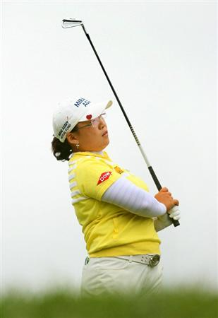 GLADSTONE, NJ - MAY 23: Jiyai Shin of South Korea watches her tee shot on the 16th hole during the final round of the Sybase Match Play Championship at Hamilton Farm Golf Club on May 23, 2010 in Gladstone, New Jersey. (Photo by Hunter Martin/Getty Images)