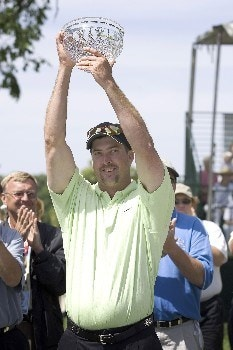 Chris Couch raises the bowl in victory after winning the Rheem Classic at Hardscrabble Country Club in Fort Smith, Arkansas on Sunday May 15, 2005 with a score of -15 and shooting a 60.Photo by Wesley Hitt/WireImage.com