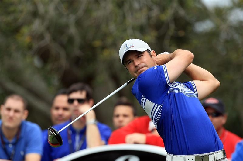 ORLANDO, FL - MARCH 22:  Trevor Immelman of South Africa and the Lake Nona Team tees off at the 6th hole during the first day's play in the 2010 Tavistock Cup, at the Isleworth Golf and Country Club on March 22, 2010 in Orlando, Florida.  (Photo by David Cannon/Getty Images)