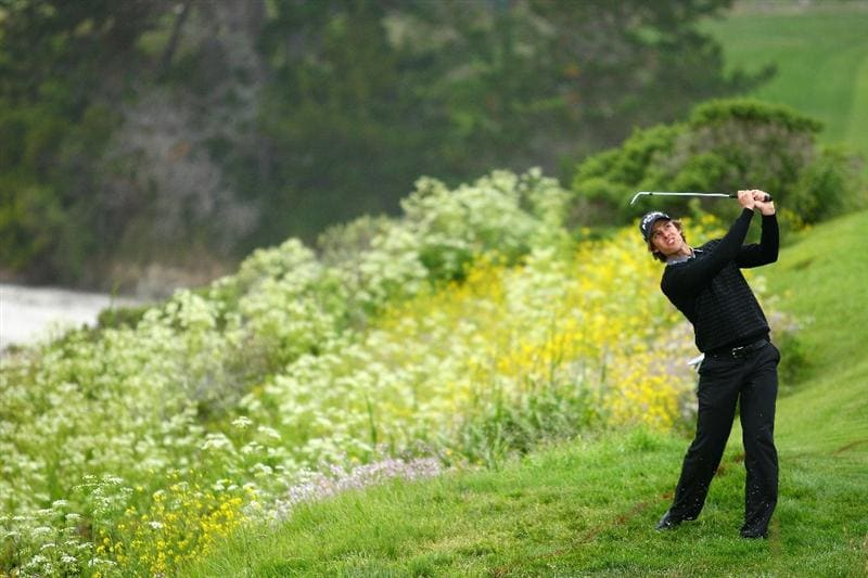 PEBBLE BEACH, CA - JUNE 18:  Aaron Baddeley of Australia hits out of the rough after taking a drop on the sixth hole during the second round of the 110th U.S. Open at Pebble Beach Golf Links on June 18, 2010 in Pebble Beach, California.  (Photo by Donald Miralle/Getty Images)