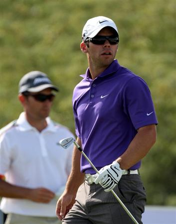 DOHA, QATAR - JANUARY 30:  Paul Casey of England walking of the 8th tee during the third round of The Commercialbank Qatar Masters at The Doha Golf Club on January 30, 2010 in Doha, Qatar.  (Photo by Ross Kinnaird/Getty Images)