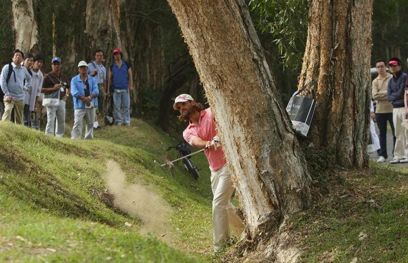 HONG KONG, CHINA - NOVEMBER 22:  Johan Edfors of Sweden plays his approach shot on the third hole during the third round of the UBS Hong Kong Open at the Hong Kong Golf Club on November 22, 2008 in Fanling, Hong Kong.  (Photo by Stuart Franklin/Getty Images)
