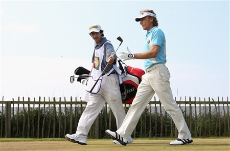 TROON, UNITED KINGDOM - JULY 26: Bernhard Langer of Germany sets off from the 1st tee during the third round of the Senior Open Championships at Royal Troon on July 26,2008 in Troon,Scotland.  (Photo by Ross Kinnaird/Getty Images)