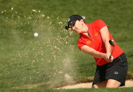 HUIXQUILUCAN, MEXICO - MARCH 15:  Angela Jerman plays a bunker shot on the fourth hole during the second round of the MasterCard Classic at Bosque Real Country Club on March 15, 2008 in Huixquilucan, Mexico.  (Photo by Scott Halleran/Getty Images)