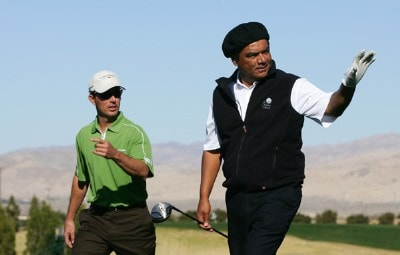Comedian George Lopez (R) and Mike Weir gesture on the second tee during the fourth round of the 49th Bob Hope Chrysler Classic on January 19, 2008 at the Classic Club in Palm Desert, California. PGA TOUR - 2008 Bob Hope Chrysler Classic - Round FourPhoto by Robert Laberge/Getty Images