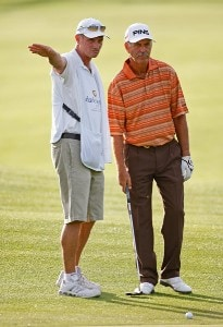 Mark James (R) of England gets advice from his caddie on #16 during the second round of the Charles Schwab Cup Championship at Sonoma Golf Club October 26, 2007 in Sonoma, California. Champions Tour - 2007 Charles Schwab Cup Championship - Second RoundPhoto by Chris Condon/PGA TOUR/WireImage.com