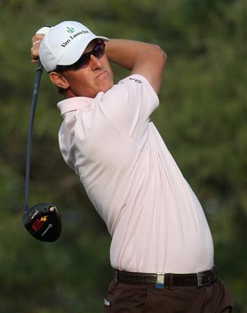 DOHA, QATAR - JANUARY 24:  Maarten Lafeber of the Netherlands on the 18th tee during the third round of the Commercialbank Qatar Masters at the Doha Golf Club on January 24,2009 in Doha, Qatar.  (Photo by Ross Kinnaird/Getty Images)