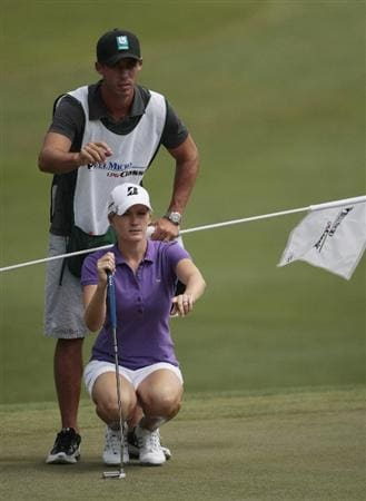 MOBILE, AL - MAY 13: Sarah Jane Smith of Australia lines up her putt on the 10th green during first round play in Bell Micro LPGA Classic at the Magnolia Grove Golf Course on May 13, 2010 in Mobile, Alabama.  (Photo by Dave Martin/Getty Images)
