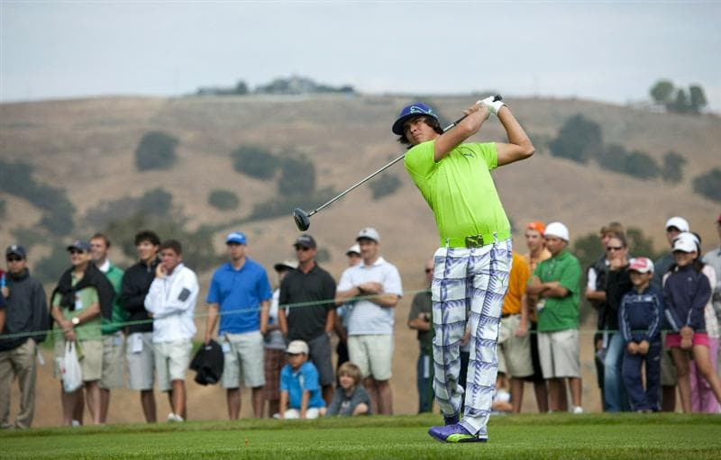 SAN MARTIN, CA - OCTOBER 16:  Rickie Fowler makes a tee shot on the fourth hole during the third round of the Frys.com Open at the CordeValle Golf Club on October 16, 2010 in San Martin, California.  (Photo by Robert Laberge/Getty Images)