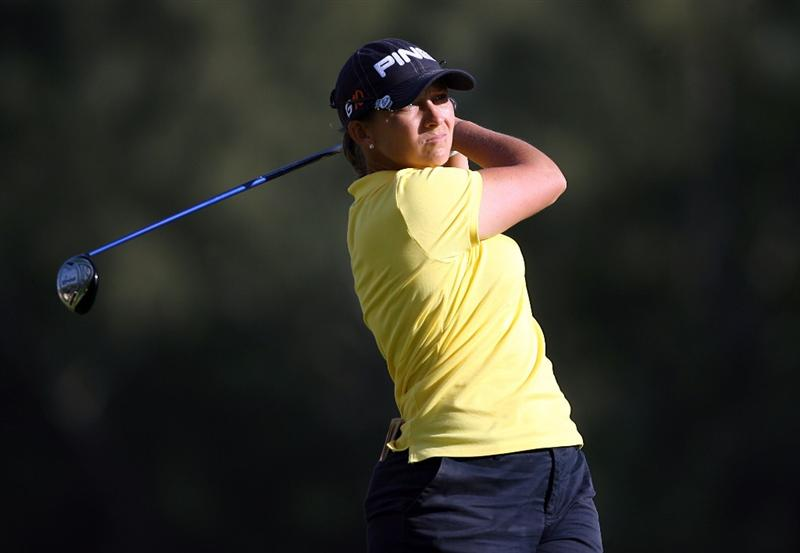 KAHUKU, HI - FEBRUARY 13:  Angela Stanford hits her tee shot on the 16th hole during the second round of the SBS Open on February 13, 2009 at the Turtle Bay Resort in Kahuku, Hawaii.  (Photo by Andy Lyons/Getty Images)