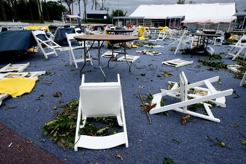 LOUISVILLE, KY - SEPTEMBER 14:  Chairs lay on the ground as the course is damaged by high winds prior to the 37th Ryder Cup at Valhalla Golf Club on September 14, 2008 in Louisville, Kentucky.  (Photo by Andy Lyons/Getty Images)
