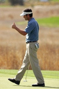 Franklin Langham reacts after putting on the 12th green during the final round of the Nationwide Championship at Barona Creek Golf Course November 4, 2007 in Lakeside, California. Nationwide Tour - 2007 Nationwide Tour Championship at Barona Creek - Final RoundPhoto by K.Horner/WireImage.com