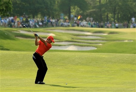 CHARLOTTE, NC - MAY 02:  Sergio Garcia of Spain plays into the 5th green during the second round of the Wachovia Championship at Quail Hollow Country Club on May 2, 2008 Charlotte, North Carolina.  (Photo by Richard Heathcote/Getty Images)