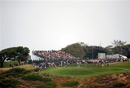 SAN DIEGO - JUNE 12:  Players and caddies make their way down to the third green during the first round of the 108th U.S. Open at the Torrey Pines Golf Course (South Course) on June 12, 2008 in San Diego, California.  (Photo by Harry How/Getty Images)