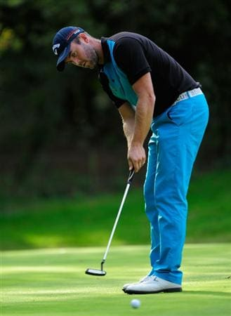 HILVERSUM, NETHERLANDS - SEPTEMBER 11:  Christian Nilsson of Sweden putting on the 17th hole during the third round of  The KLM Open Golf at The Hillversumsche Golf Club on September 11, 2010 in Hilversum, Netherlands.  (Photo by Stuart Franklin/Getty Images)