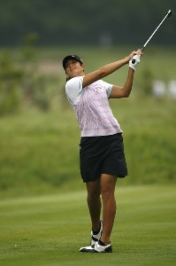 Laura Diaz tees off on the 4th hole during first round of the 61st US Womens Open being held at the Newport Country Club in Newport, Rhode Island on June 30, 2006.