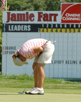 Heather Bowie misses a crucial putt on the 72nd hole that would have won the tournament during the final round of the Jamie Farr Owens Corning Classic July 10, 2005. Bowie won the tournament in a three-hole playoff.Photo by Al Messerschmidt/WireImage.com
