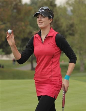 CITY OF INDUSTRY, CA - MARCH 27:  Sandra Gal of Germany celebrates her par-saving putt on the 14th hole during the final round of the Kia Classic on March 27, 2011 at the Industry Hills Golf Club in the City of Industry, California.  (Photo by Scott Halleran/Getty Images)