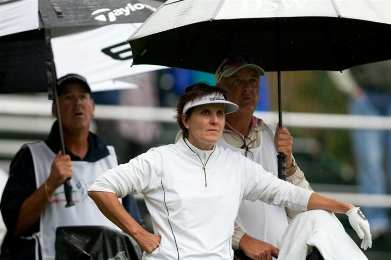 DANVILLE, CA - OCTOBER 17: Michele Redman waits at the 10th tee during the final round of the CVS/Pharmacy LPGA Challenge at Blackhawk Country Club on October 16, 2010 in Danville, California. (Photo by Darren Carroll/Getty Images)