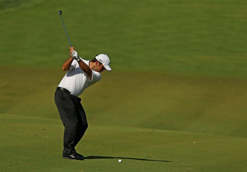 SOTOGRANDE, SPAIN - OCTOBER 29:  Francesco Molinari of Italy plays into the 10th green during the second round of the Andalucia Valderrama Masters at Club de Golf Valderrama on October 29, 2010 in Sotogrande, Spain.  (Photo by Richard Heathcote/Getty Images)