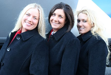 HALMSTAD, SWEDEN - SEPTEMBER 13:  Brittany Lincicome, Laura Diaz and Natalie Gulbis of the USA pose for a picture during the Opening Ceremony in the town square prior to the start of the Solheim Cup at on September 13, 2007 in Halmstad, Sweden.  (Photo by Scott Halleran/Getty Images)