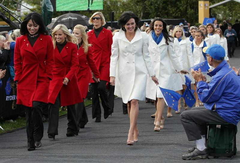 NEWPORT, WALES - SEPTEMBER 30:  Lisa Pavin (L) and Gaynor Montgomerie lead out the Wives and Girlfriends during the Opening Ceremony prior to the 2010 Ryder Cup at the Celtic Manor Resort on September 30, 2010 in Newport, Wales.  (Photo by Andrew Redington/Getty Images)