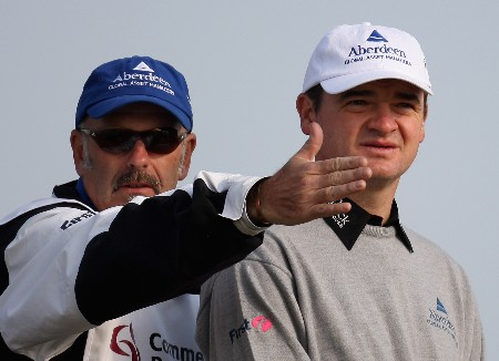 DOHA, QATAR - JANUARY 24:  Paul Lawrie of Scotland on the par four 16th hole during the first round of the Commercial Bank Qatar Masters held at the Doha Golf Club on January 24, 2008 in Doha,Qatar.  (Photo by Ross Kinnaird/Getty Images)