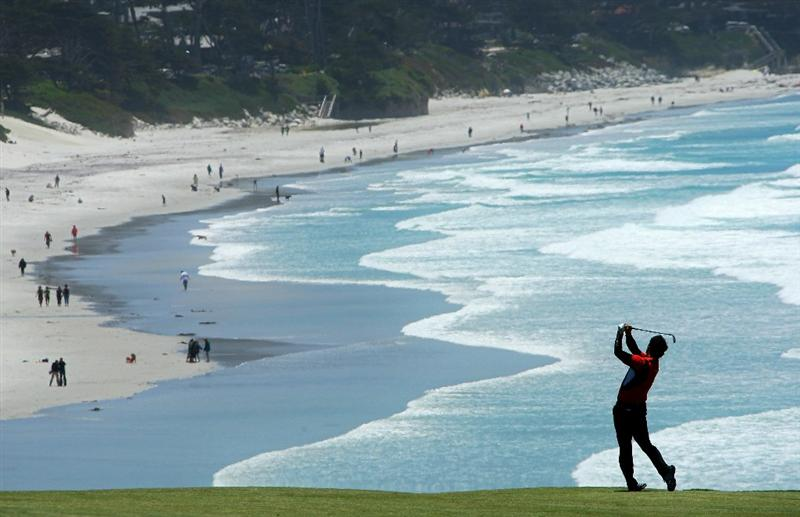 PEBBLE BEACH, CA - JUNE 17:  Y.E. Yang of South Korea plays a shot on the ninth hole during the first round of the 110th U.S. Open at Pebble Beach Golf Links on June 17, 2010 in Pebble Beach, California.  (Photo by Donald Miralle/Getty Images)