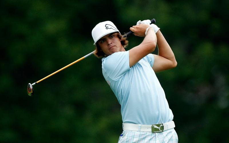 DUBLIN, OH - JUNE 03:  Rickie Fowler watches his tee shot on the 18th hole during the first round of the Memorial Tournament presented by Morgan Stanley at Muirfield Village Golf Club on June 3, 2010 in Dublin, Ohio.  (Photo by Scott Halleran/Getty Images)