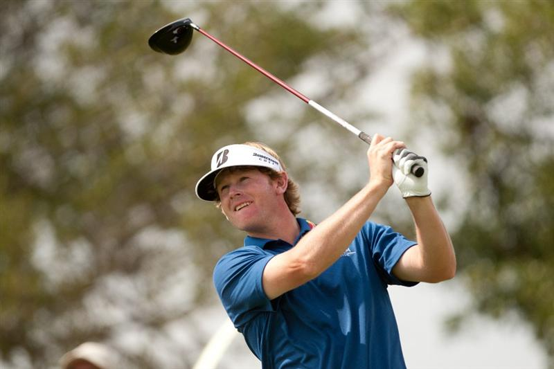 SAN ANTONIO, TX - APRIL 14: Brandt Snedeker follows through on a tee shot during the first round of the Valero Texas Open at the AT&T Oaks Course at TPC San Antonio on April 14, 2011 in San Antonio, Texas. (Photo by Darren Carroll/Getty Images)