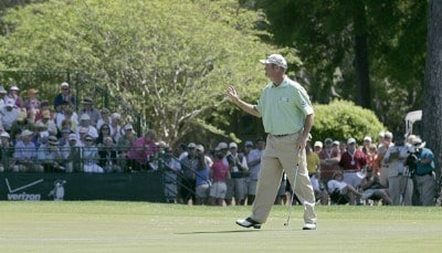 Jerry Kelly finishes his round during the first round of the Verizon Heritage Classic at the Harbour Town Golf Links in Hilton Head, South Carolina on April 12, 2007. Photo by Michael Cohen/WireImage.com