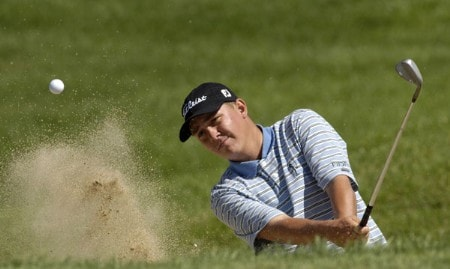Jason Dufner hits out of the bunker on the 8th hole, during third round action of the Cox Classic presented by Chevrolet at the Champions Club in Omaha, Nebraska on August 6, 2005.Photo by Peter Aiken/WireImage.com