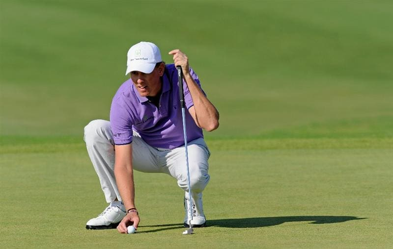 VILLAMOURA, PORTUGAL - OCTOBER 16:  Maarten Lafeber of The Netherlands lines his putt on the nineth hole during the third round of the Portugal Masters at the Oceanico Victoria Golf Course on October 16, 2010 in Villamoura, Portugal.  (Photo by Stuart Franklin/Getty Images)