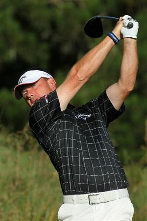PEBBLE BEACH, CA - JUNE 16:  Alex Cejka of Germany hits a shot during a practice round prior to the start of the 110th U.S. Open at Pebble Beach Golf Links on June 16, 2010 in Pebble Beach, California.  (Photo by Stephen Dunn/Getty Images)