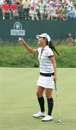 GALLOWAY, NJ - JUNE 20:  Ai Miyazato of Japan celebrates winning the ShopRite LPGA Classic held at Dolce Seaview Resort (Bay Course) on June 20, 2010 in Galloway, New Jersey.  (Photo by Michael Cohen/Getty Images)