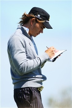 SOUTHPORT, UNITED KINGDOM - JULY 15:  Camilo Villegas of Colombia checks his yardage during the second practice round of the 137th Open Championship on July 15, 2008 at Royal Birkdale Golf Club, Southport, England.  (Photo by Andrew Redington/Getty Images)