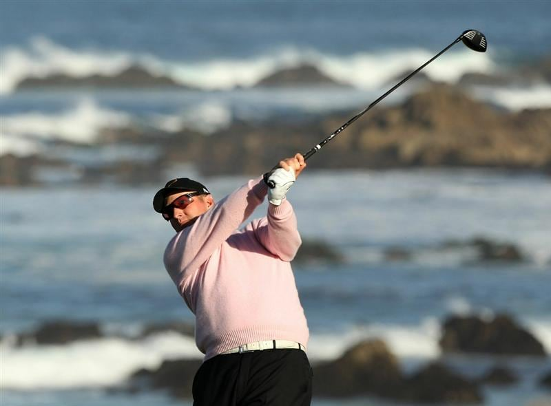 PEBBLE BEACH, CA - FEBRUARY 11:  David Duval tees off on the 13th hole during the second round of the AT&T Pebble Beach National Pro-Am at Monterey Peninsula Country Club on February 11, 2011 in Pebble Beach, California.  (Photo by Ezra Shaw/Getty Images)