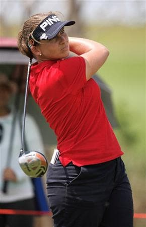BANGKOK, THAILAND - FEBRUARY 27:  Angela Stanford of the USA plays her 1st shot on the 4th hole during day two of the Honda LPGA Thailand 2009 at Siam Country Club Plantation on February 27, 2009 in Pattaya, Chonburi, Thailand. (Photo by Chumsak Kanoknan/Getty Images)