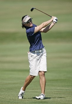 SPRINGFIELD, IL - SEPTEMBER 2:   Rachel Hetherington of Australia hits her second shot on the 16th hole during the final round of the State Farm Classic at Panther Creek Country Club on September 2, 2007 in Springfield, Illinois. (Photo by Hunter Martin/Getty Images)